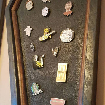 Coffin Cork Board, Tac Board, Enamel Pin Display, Coffin, Cork, Gothic, Gothic Decor