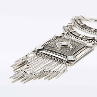 Square Tassel Statement Necklace - Urban Outfitters