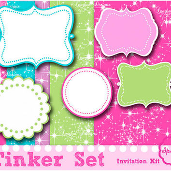 Tinker Digital Paper, Invitations Kit Scrapbooking Frames Party Paper Invitation backgrounds Instant Download
