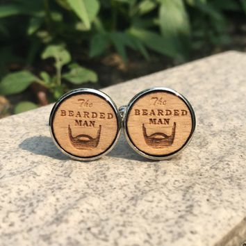 The Bearded Man Wood Cufflinks Hipster Beard Wedding Gift Groomsmen Gift Groom Manly Wooden Cuff Link X 1 Pair