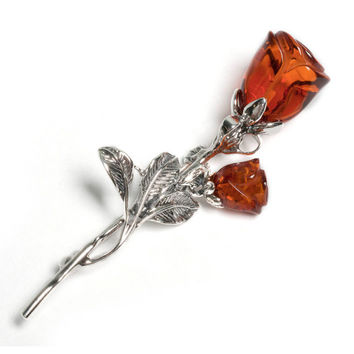 Cognac Amber and Silver Spray Rose Brooch