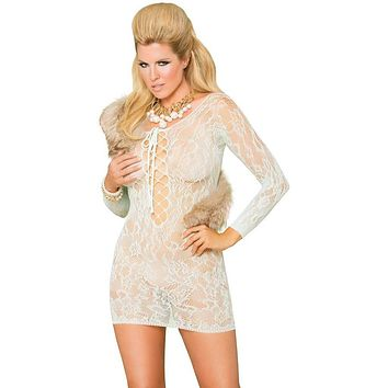 Queen Size Seduction Loose Shoulder Lace Dress