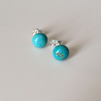 Turquoise Studs - Turquoise Earrings - Blue Studs - Blue Earrings