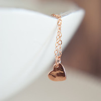 Little Hammered Heart Necklace in Rose Gold Vermeil and Rose Gold Filled
