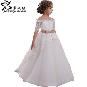 2017 Sweet Flower Girls Dresses For Weddings Pageant Dress Lace Appliques Ball Gowns Little Girl's First Holy Communion Party