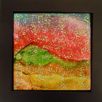 Twilight Alcohol Ink Painting on Ceramic Tile w/ Black Stand or Frame
