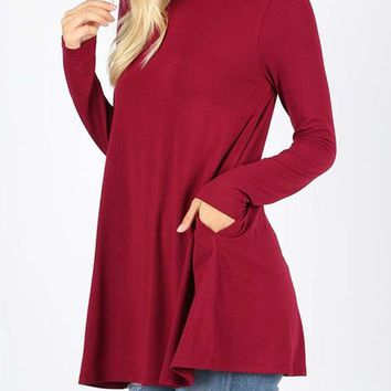 Premium Fabric Long Sleeve Mock Neck Top