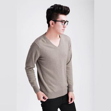 HOT! Men's cashmere wool knitted sweater V-neck brand solid color men pullovers male vintage style autumn winter basic clothing