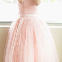 Pink Plain Pleated Grenadine Bow Short Sleeve High Waisted Fashion Elegant Party Long Tutu Dress