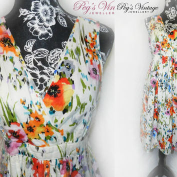 Vintage 80s Cotton Floral Poppy Dress/ Midi Sun Dress/Flower Print Sleeveless Dress /Size M/L