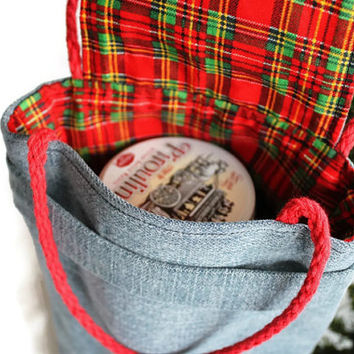 Christmas Plaid Gift Bag Reusable Small Denim Red Green Upcycled Gift Wrap Alternative Vintage 1980s Fabric--US Shipping Included