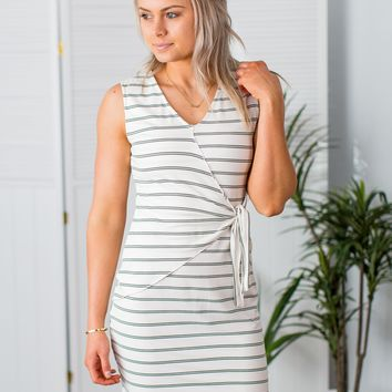 Layne Striped Dress-White/Olive