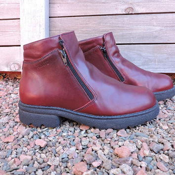 Red / Burgundy leather ankle boots / size US 6.5 / 7  EU 38 / 90s chunky ankle boots / NAOT Helm walking boots / designer boots
