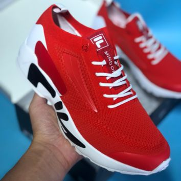 DCCK F004 Fila Fht Rj-Dash Flyknit Mesh Ratro Running Shoes Red