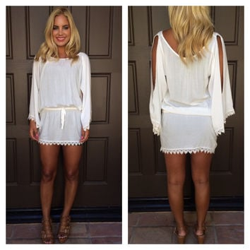 White Lace Drawstring-Waist Cut-Sleeve Dress