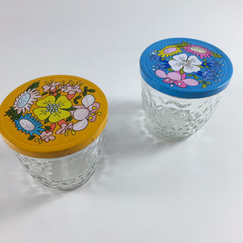 Vintage Glass Jar Flower Jar Kitchen Canister Glass Blue Jar Yellow Jar Kitschy Ball Jar Quilted Crystal Canning Supplies Kitchen Set Of 2