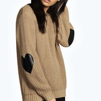 Cara Heart Elbow PU Patch Jumper