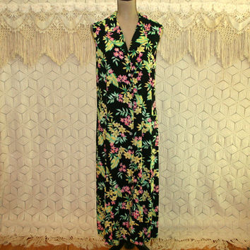 90s Black Floral Summer Dress 3X Sleeveless Button Up Boho Grunge Tropical Dress Casual Day Dress Size 24 Vintage Womens Plus Size Clothing