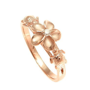Rose Gold Sterling Silver Honu Turtle and Plumeria Ring