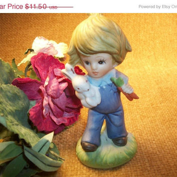 Figurine Boy with Rabbit Hand Painted Porcelain Bisque Brown Haired Country Boy Blue Overalls White Rabbit Vintage Home Decor