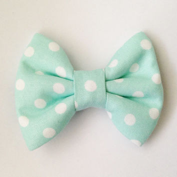 Mint with White Dots Handmade Bow (Modern Handmade Bow / Bow Tie / or Headband)