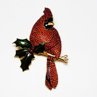 Rhinestone Cardinal Brooch Signed Joan Rivers w/Holly Leaves Bejeweled Christmas Pin - Winter Holidays Jewelry