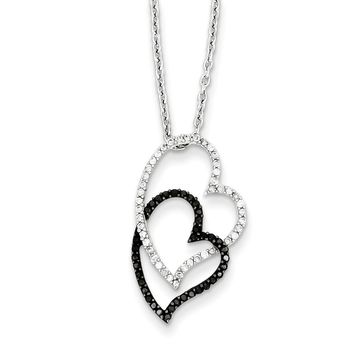 3/8 Ctw Black & White Diamond Double Heart Necklace in Sterling Silver