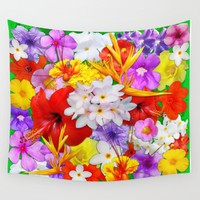 Exotic Flowers Colorful Explosion Wall Tapestry by BluedarkArt