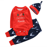 Baby Boy Girl Suit Long Sleeve Bodysuit Deer Pant Hat 3PCS Outfit