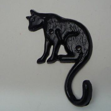 Cat Hook Cast Iron Wall Hook Black Coat Jewelry Leash Key Scarf Hat Towel Hook Kitty Kitten Pet Hook