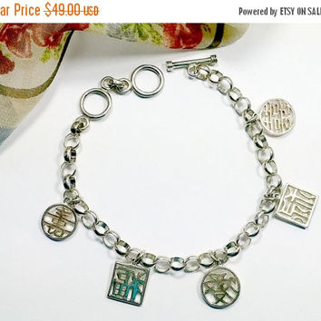 Vintage Lenox 925 Sterling Silver Bracelet Chinese Symbols Dangles Good Fortune Charm Bracelet Toggle Clasp Adjustable Lngth 6.5 or 7.5 Inch