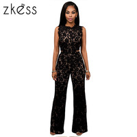 Zkess Black Lace Jumpsuit Long Pants Women Rompers Sexy Club Ladies 2017 Belted Solid Elegant Female Jumpsuits Overalls LC64117