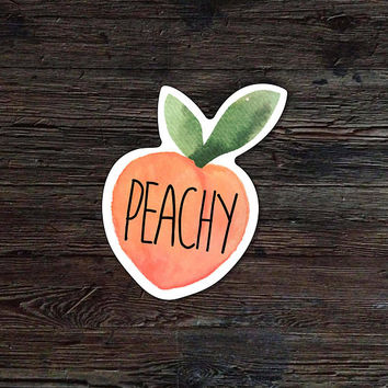 Peachy Decal - Peach Vinyl Sticker - Watercolor Peach Decal - Car Window Decal - Laptop Sticker - Tumbler Decal
