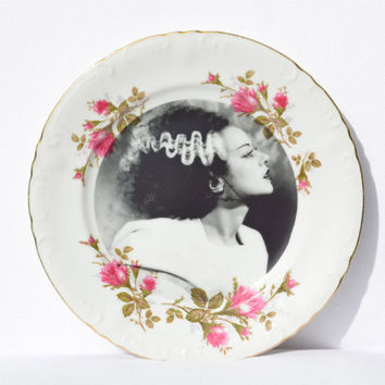 """Bride of Frankenstein Modified Upcycled Vintage Decorative Plate - 10"""" Plate"""