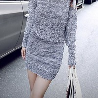 Grey 2-in-1 Slim Bodycon Sweater Dress Long Sleeve
