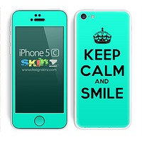 Trendy Green Keep Calm and Smile Skin For The iPhone 5c