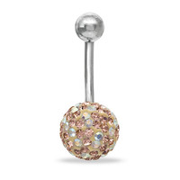 014 Gauge Belly Button Ring with 10mm Peach Crystal Ball in Stainless Steel - - View All - PAGODA.COM