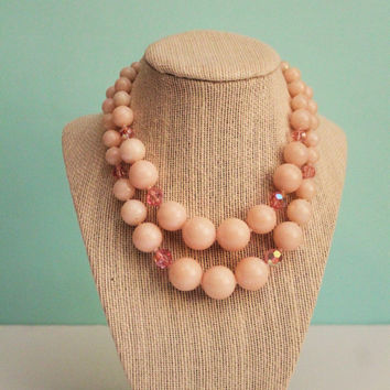 Midcentury Pale Pink Lucite & Crystal Double Strand Choker