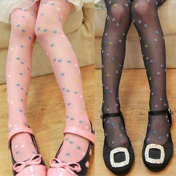 Kid Girl Candy-Colored Silk Stocking Velvet Transparent Pantyhose For 5-9 Years
