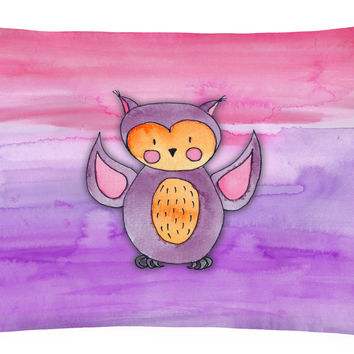 Pink and Purple Owl Watercolor Canvas Fabric Decorative Pillow BB7428PW1216
