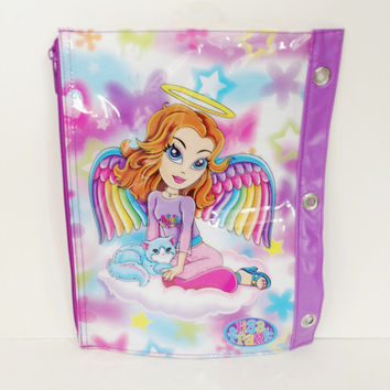 1990s Lisa Frank binder pocket - vintage retro three 3 ring binder - angel cat cats butterfly heart star - bag zipper case pencil holder