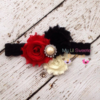 NEW Red, black, ivory trio headband- baby headband- toddler headband- adult headband- Christmas headband - infant headband