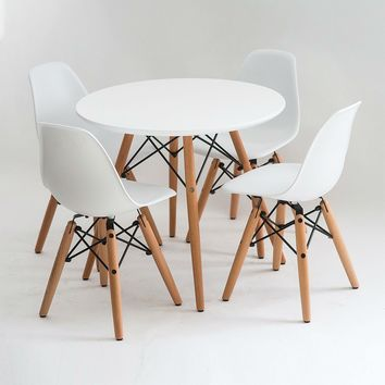 White Table And 4 Chairs Set For Kids With Mid Century Wooden Legs