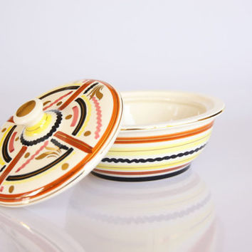 Striped Art Deco bonbonniere, antique ceramic candy box, can also be used as jewelry box or trinket bowl
