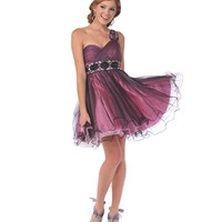 Dusty Rose Tulle Sweetheart One Shoulder Empire Waist Homecoming Dress