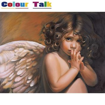 Unframed Painting By Numbers Modern Oil Paintings Coloring by Numbers Decoration Pictures Wall Art Canvas Angel Paintings P-0819