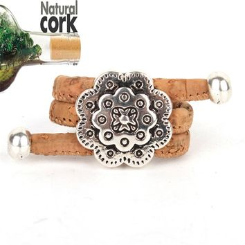 Natural cork Antique sliver  vintage women cork Ring original adjustable  handmade wooden vegan jewelry HR-022