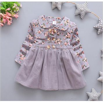 In the fall of the new fashion female baby flower pattern long-sleeved dress + free gift