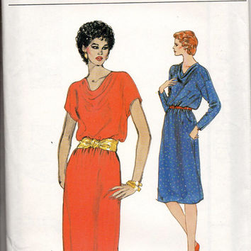 Vogue 8225 Sewing Pattern Retro 80s Pullover A-line Dress Draped Cowl Neck Long Short Raglan Sleeves Uncut FF Bust 34 to 38