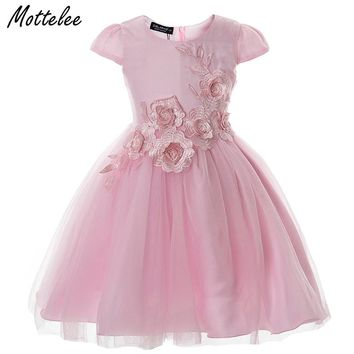 Mottelee Girls Dress Elegant Baby Princess Frocks Flower Children Ball Gown Mesh Kids Party Wedding Dresses Clothing for Girl